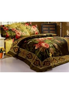 Antique Retro Luxury Oil Painting Print 4 Piece Bedspreads and Duvet Cover Sets
