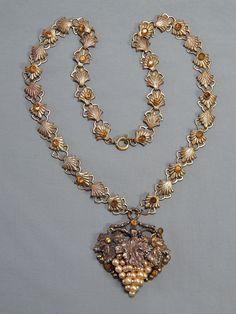 Vintage Art Nouveau Brass Rhinestone & Faux Pearl Grapes Bunch Lavalier Necklace