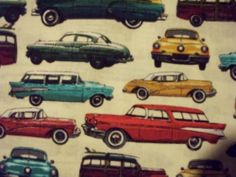 50/'s RETRO CARS CLASSIC VINTAGE VEHICLES BLACK COTTON FABRIC BTHY