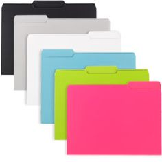 I like the hot pink, lime green, and sky blue folders.  $3.99 for a pack of 6.  Have to buy individual colors, which is what I like.