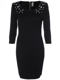 Γυναικείο φόρεμα με τρουκς. Χρώμα: Μαύρο. Cold Shoulder Dress, Formal Dresses, Fashion, Formal Gowns, Moda, Fashion Styles, Formal Dress, Gowns, Fashion Illustrations