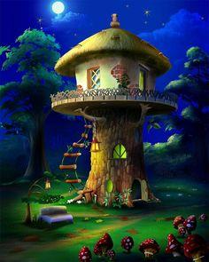 A virtual jigsaw puzzle from Jigidi. Fantasy Places, Fantasy World, Fantasy Art, Mushroom House, Mushroom Art, Fantasy Landscape, Fairy Art, Magical Creatures, Fairy Houses