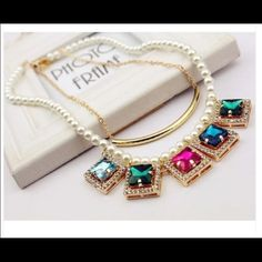 Crystal pearl necklace Double layer multi color crystal pearl necklace Jewelry Necklaces