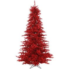 Vickerman 4.5' Tinsel Red Fir Christmas Tree | Wayfair (65.845 CRC) ❤ liked on Polyvore featuring home, home decor, holiday decorations, red home accessories, holiday home decor, holiday decor and red home decor