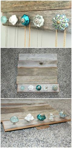 15 Amazing DIY Jewelry Holder Ideas to Try DIY Jewelry holder – perfect for holding and organizing your jewelry and necklaces. Cute antique knobs (from Pier 1 Imports) and barn wood (Hobby Lobby). Jewellery Storage, Jewelry Organization, Jewellery Display, Diy Jewellery, Jewellery Holder, Diy Necklace Holder, Necklace Hanger, Diy Jewelry To Sell, Necklace Storage