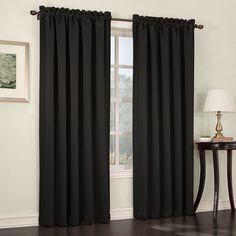 Sun Zero Gramercy Room Darkening Curtain, Black