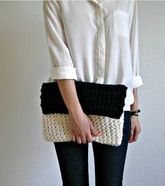 Love this knitted clutch.