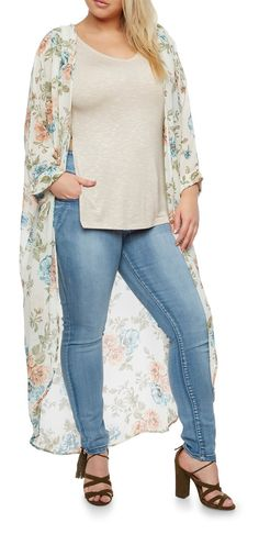 Plus Size Long Floral Kimono