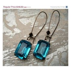 estate teal gem earrings ❤ liked on Polyvore