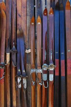 Museum Exhibit Rental 2 – Antique and Vintage Skiing c. 1800's – 1900's, 19th – 20th century Wood, Leather, Metal (edges and bindings) 120sq.ft. total recommended space for 8' height x 15' length disp