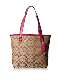 Women's Shoulder Bags - Coach 12cm Signature Zip Top Tote Khaki  Cranberry -- You can get additional details at the image link.