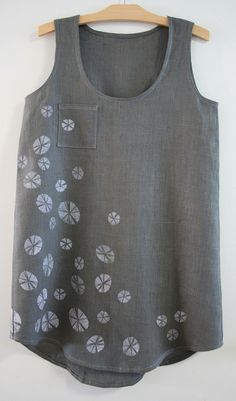 Handmade tank, printed with potato stamp pattern and fabric paint.