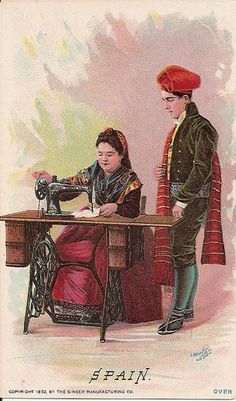 "An Excellent Trade Card, vintage 1892 advertising Singer Sewing machines. Published in 1892 by Singer Sewing Machines for their "" Singer In Foreign Lands series. Victorian Sewing Machines, Treadle Sewing Machines, Sewing Cards, Sewing Studio, Illustrations, Sewing For Beginners, Vintage Cards, Vintage Advertisements, Vintage Posters"