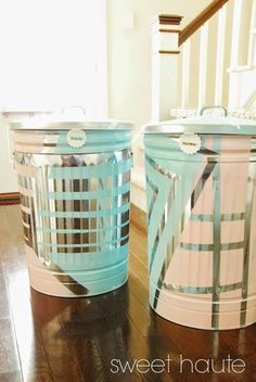 DIY Outdoor Organization: Recycle Bins SWEET HAUTE storage ideas aluminum trash bins lowes creator pin now....read later!