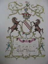just an example of an authentic coat of arms. your family's would look different, of course :) what a lovely piece of art this would be in your home! shown is the Byron Lord Coat of Arms Jacobs English Peerage from 1700s.