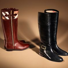 Equestrian style leather boots with check detail from the Burberry A/W13 shoe collection