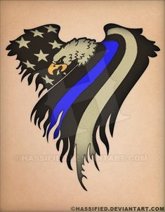 Law Enforcement Eagle Flag created by Michael Scott HasslerA fully editable vector illustration suitable for use as a design element, tattoo design, t-shirt des Blue Line Police, Thin Blue Line Flag, Thin Blue Lines, Line Tattoos, Tattoos For Guys, Tatoos, Cop Tattoos, Future Tattoos, Law Enforcement Tattoos