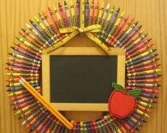 Personalized Crayon Wreath Teacher Wreath by CraftyCrystalShop