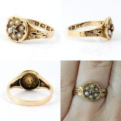 18K Antique Victorian Rose Gold Seed Pearl Enamel Diamond Ring 1865 England. $349.00, via Etsy.