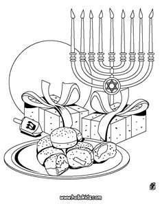 Easy to print menorah coloring page Hanukkah Pinterest
