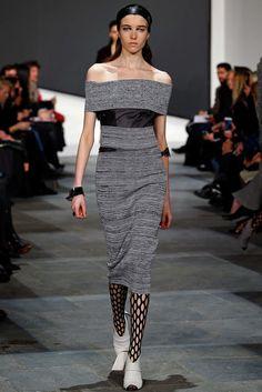 Proenza Schouler | Fall 2015 Ready-to-Wear | 17 Grey off shoulder midi dress