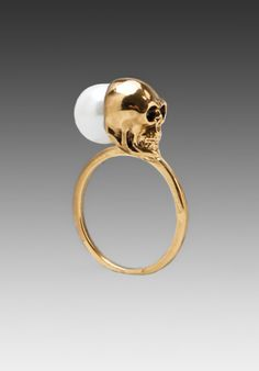 HOUSE OF HARLOW Skull and Pearl Ring in Gold at Revolve Clothing - Free Shipping!