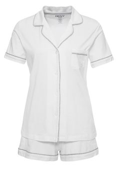 DKNY Intimates SIGNATURE Piżama white 309.00zł #moda #fashion #women #kobieta #dkny #intimates #signature #piżama #white #krótka #rozpiana