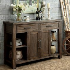 Add style and country charm to your dining area with this weathered buffet piece. Multiple shelving options and two wide drawers provide ample storage compartments for extra dishware, tablecloths and more.