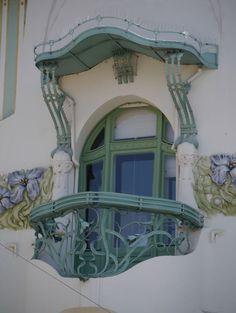 Balcony of the Reök Palace, Szeged, Hungary.