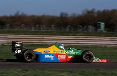 Mika Hakkinen (Benetton-Ford V8, B188). 1st F1 Test, Silverstone, 24th January, 1990