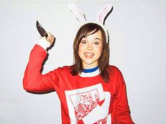 Ellen Page. love her but whats with the creepy bunny costume