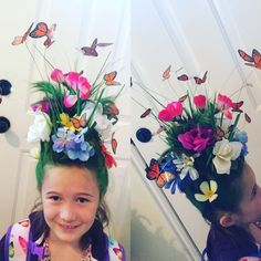 Monarch butterfly garden for crazy hair day! I attached a cylinder shaped piece of green styrofoam to a headband, bobby pinned her hair up to the styrofoam, sprayed it with green hairspray, and stuck butterflies and flowers into the styrofoam! Butterflies were printed from the computer and attached to wire. Pretty simple!