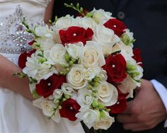 Austin Rainbow Bouquet - Austin Florists - Red and ivory bouquet with pearl details