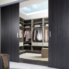Design your private dressing room! Use sliding doors to divide your walk- in wardrobe and bedroom! Glass Sliding Wardrobe Doors, Wardrobe Hinges, Internal Sliding Doors, Sliding Door Design, Wardrobe Room, Walk In Wardrobe, Walk In Closet, Wardrobe Ideas, Closet Designs