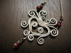 Symmetrical Swirls Wirework Necklace with by CreeationsStudio, $24.00