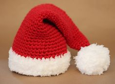 Repeat Crafter Me: Crochet Santa Hat ADULT and BABY SIZE PATTERN AT http://www.girlinair.com/2010/12/how-to-make-santa-hat.html