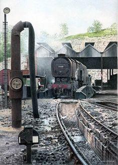 Fine Art Prints of Railway Scenes & Train Portraits - Class on Guildford… Steam Trains Uk, Old Steam Train, Diesel Locomotive, Steam Locomotive, Southern Trains, Old Trains, Vintage Trains, Train Posters, Steam Railway