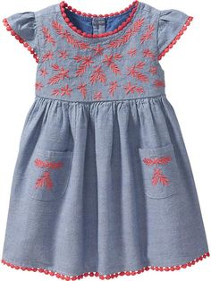 Embroidered Chambray Dresses for Baby Product Image