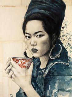 Stéphanie Ledoux - Carnets de voyage: REPROS une superbe illustration cette femme est parfaite, magnifique ! Bravo l'artiste !