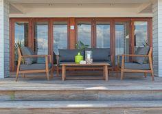 4pce Zermatt Setting Teak/Slate - The Outdoor Furniture Specialists