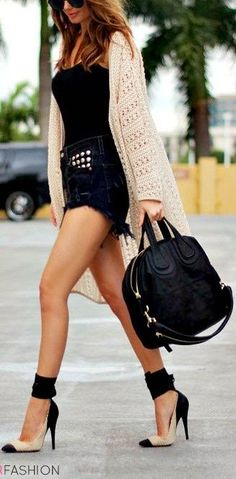 Trendy heels with wrap around ankles, high-waist jean shorts and that cardigan