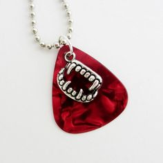 Guitar Pick Necklace Vampire Teeth Red by susanwilliamsdesigns, $14.00