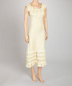 Cream Ruffled Peasant Dress by Royal Handicrafts #zulily #zulilyfinds