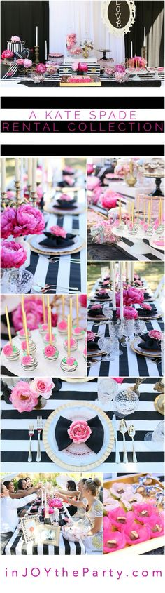 Perfect for a bridal shower, baby shower, or birthday party for your favorite fashionista. Kate Spade Party, Kate Spade Bridal, Pink Parties, Grad Parties, Birthday Parties, 30th Birthday Ideas For Girls, Birthday Brunch, Birthday Table, Brunch Party