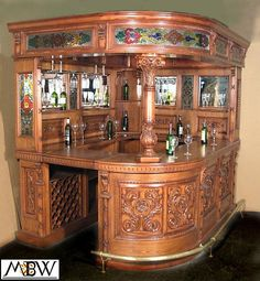 8Ft Mahogany & Oak Canopy Round Home Pub Bar w/ Stained Glass & Rails