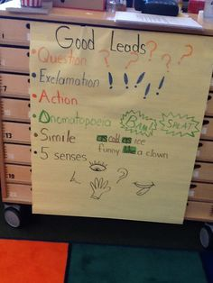 The first graders are learning to write great lead sentences.