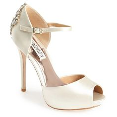 "Badgley Mischka 'Gene' Crystal Back Ankle Strap Pump, 4 1/2"" heel ($245) ❤ liked on Polyvore"