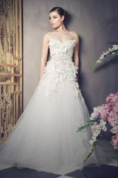 Romantic wedding dress on Bridal Musings Wedding Dresses With Flowers, Wedding Dresses 2014, Bridal Dresses, Wedding Gowns, Dresses 2016, Dresses Dresses, Bridal Collection, Dress Collection, Wedding Dress Accessories