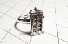 Police Box Ring inspired by Doctor Who and the TARDIS geeky jewelry