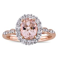 Miadora 14k Rose Gold Oval-cut Morganite White Topaz and Diamond Accent Halo Cocktail Ring